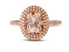 14k Rose Gold 2.21ct Morganite Diamond Ring