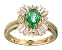 18k Yellow Gold 1.22ct Enerald .80ct Diamond Ring