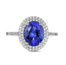 14k White Gold 2.02ct Tanzanite Diamond Ring