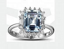 18k White Gold 2.44ct Aquamarine and Diamond Ring