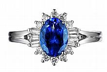 14k White Gold 1.62ct Tanzanite and Diamond Ring