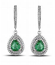 14k White Gold 1.49ct Emerald and Diamond Earrings