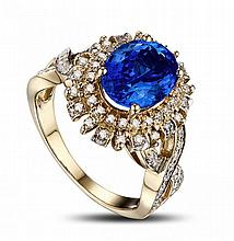 14k Yellow Gold 2.33ct Tanzanite and Diamond Ring