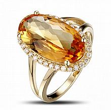 14k Yellow Gold 4.90ct Citrine and Diamond Ring