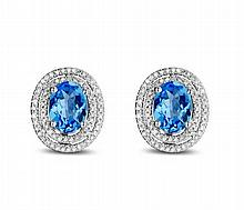 18k White Gold 3.92ct Topaz and Diamond Earrings