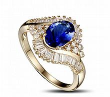 14k Yellow Gold 1.47ct Tanzanite 1.01ct Diamond Ring