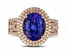 18k Rose Gold 2.95ct Tanzanite and Diamond Ring