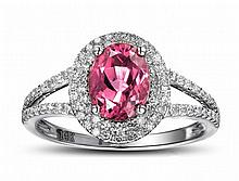 14k White Gold 1.49ct Tourmaline Diamond Ring