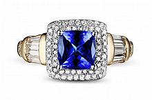 18k Two-Tone Gold 1.82ct Tanzanite and Diamond Ring