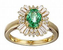 18k Yellow Gold 1.22ct Enerald .80ct Diamond Ring