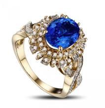 14k White Gold 2.33ct Tanzanite and Diamond Ring