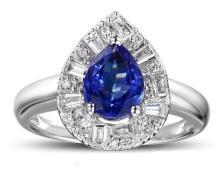 18k White Gold 1.41ct Tanzanite and Diamond Ring