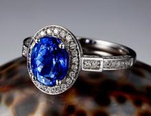 14k White Gold 2.41ct Tanzanite and Diamond Ring