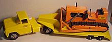 Vintage Pressed Steel Tonka Low Boy Truck and Trailer with Bulldozer (Restored)