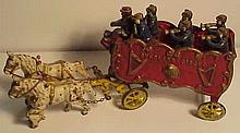 Cast Iron Kenton Overland Circus Wagon With Horses