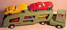 Vintage Pressed Steel Tonka Car Carrier/Hauler with Four Plastic Corvettes