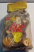 Old East Aurora Toy Corporation Wooden Clown Toy in Original Packaging