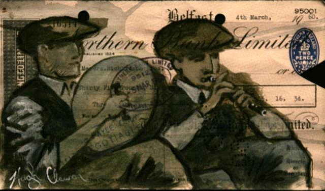 Hugh Clawson Bodhrán and Flute Mixed Media on