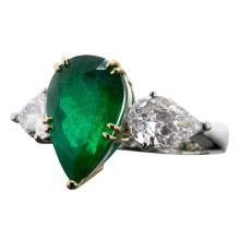 4.94 Carat Colombian Emerald Vivid Green Ring