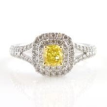 Platinum Ring with Fancy Yellow 0.50ct Cushion Cut