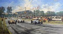 Charles Drouot (1955-) Course de voiture, Chimay 1949 / Racing cars, Chimay 1949