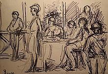 Maximilien Luce (1858-1941) Personnages à la terrasse d'un café et femme sous une ombrelle / People in open-air café and woman with a Umbrella