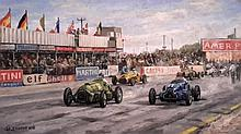 Charles Drouot (1955-) Course de voiture, Sylverstone 1950 / Racing cars, Sylverstone 1950