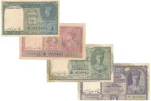Set of 4 banknotes: 1, 2, 5 & 10 Rupees (1937-1943), Reserve Bank of India.