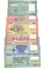Set of 6 banknotes: 1000, 5000, 10000, 25000, 50000 & 100000 All # 0000001, Banque du Liban.