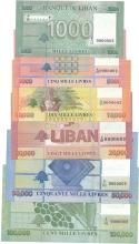 Set of 6 banknotes: 1000, 5000, 10000, 25000, 50000 & 100000 All # 0000002, Banque du Liban.