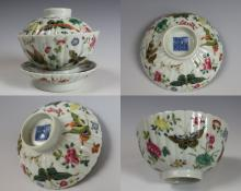 PAIR OF QIANLONG MARK BUTTERFLY DESIGN DISHES
