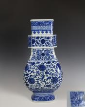 QIANLONG MARK BLUE&WHITE VASE