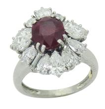 Cartier Platinum with Natural Oval Ruby Diamond Ring