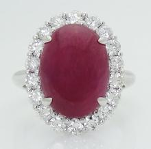 18k White Gold Apx. 10.00 TCW Cabochon Ruby & Diamond