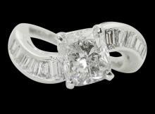Platinum & 4.00 TCW Cushion & Baguette Diamond Ring