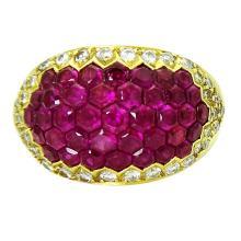 Stunning 18K Yellow Gold & Ruby Diamond Ring