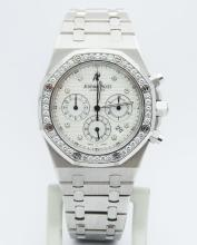 Audemars Piguet Royal Oak Chronograph 1tcw Diamonds 18K White Gold Men's Watch