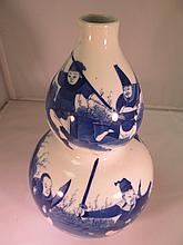 Blue & White Gangsi Gourd Vase