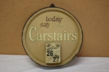 Carstairs 1957 Round Plastic Wall Calendar