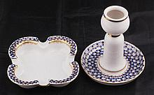 PORCELAIN CANDLESTICK AND ASHTRAY