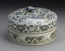 Chinese Blue and White Round Box with Cover