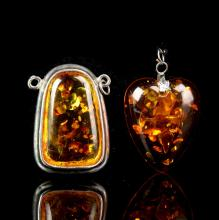 Chinese Antique Amber Pendant (2 pc)