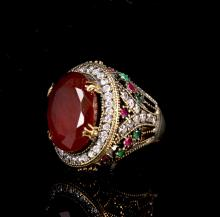African Ruby and Emerald Ring