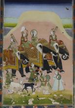 Indian Framed Painting of Travelling Elephants