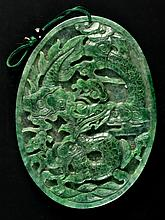 Chinese Jadeite Carved Oval Plaque