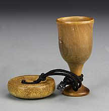 Chinese Horn Cup and Button