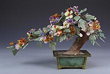 Chinese Jade and Stone Flowers with Bases