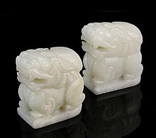 Pair of Chinese Jade Foo Lions