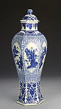Chinese Export Blue and White Covered Vase