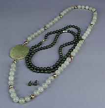 Three Chinese Jade Necklaces and a Pair of Earpins